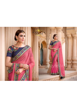 Pink Georgette Saree with Blue Blouse