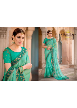 Green Georgette Saree with Green Blouse