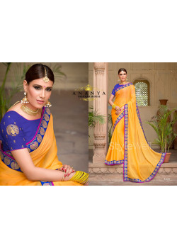 Yellow Georgette Saree with Light Blue Blouse