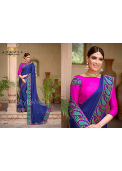 Dark Blue Georgette Saree with Pink Blouse