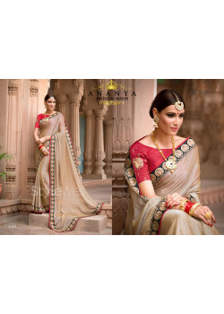 Gold Georgette Saree with Red Blouse