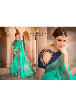 Green Georgette Saree with Dark Blue Blouse