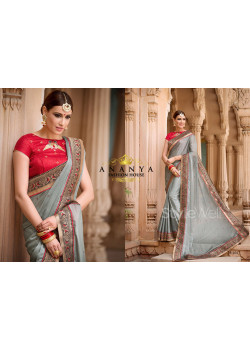 Silver Georgette Saree with Red Blouse