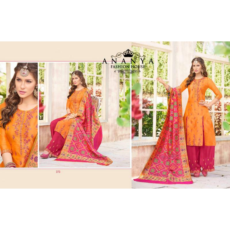Classic Light Orange Pure Masline Salwar kameez