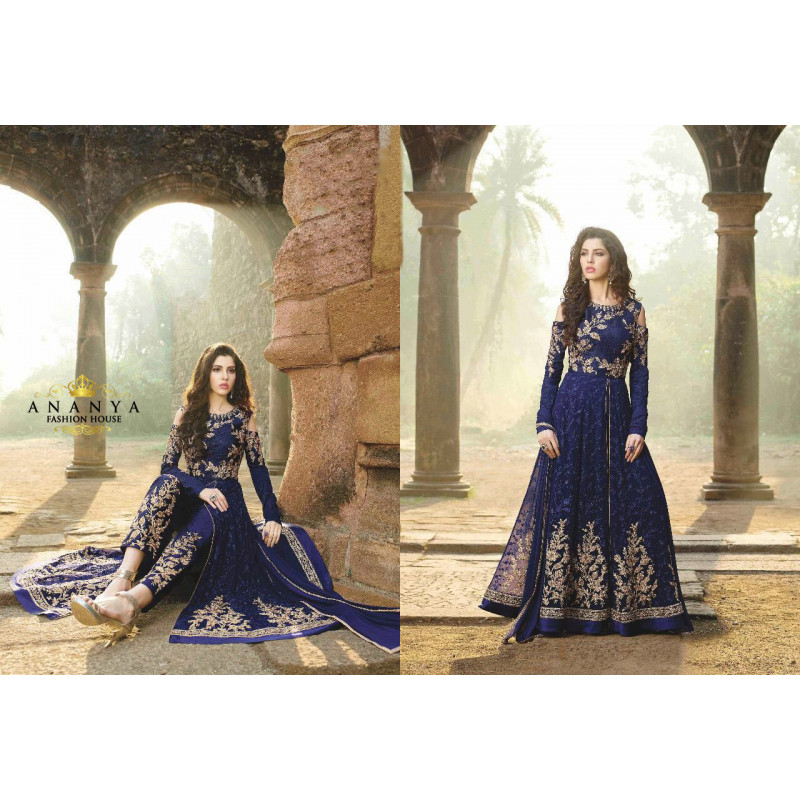 Charming Dark Blue Net- Japani Silk Salwar kameez