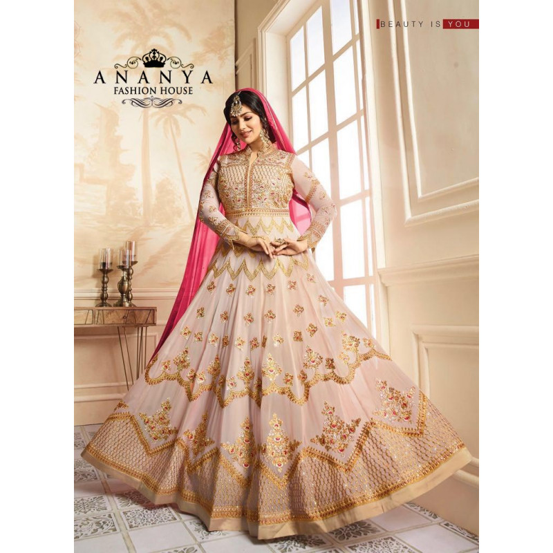 Flamboyant Light Pink   Georgette Salwar kameez