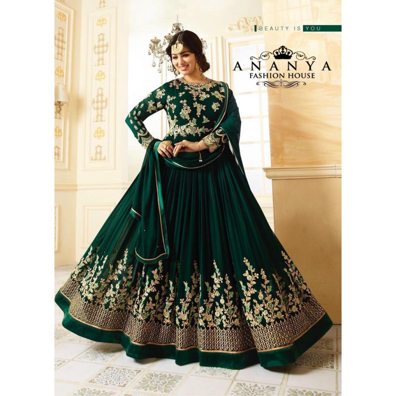 Luscious Dark Green   Georgette Salwar kameez