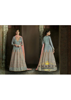 Flamboyant Light Blue Silk Salwar kameez