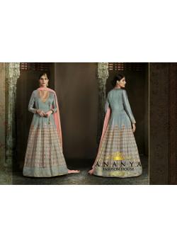 Flamboyant Light Blue Silk Salwar kameez