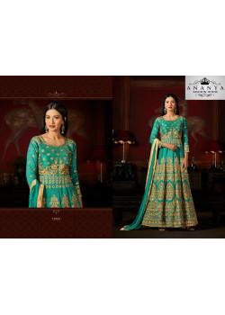Flamboyant Light Green Malburry Silk Salwar kameez