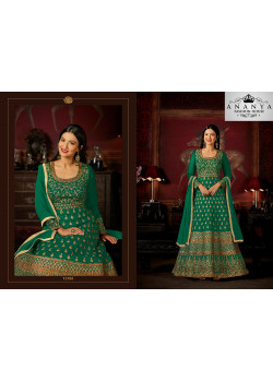 Charming Dark Green Malburry Silk Salwar kameez
