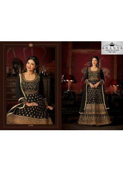 Dazzling Black Malburry Silk Salwar kameez