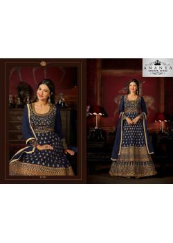 Divine Dark Blue Malburry Silk Salwar kameez