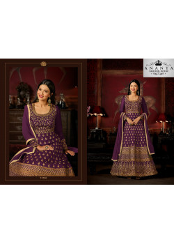 Gorgeous Purple Malburry Silk Salwar kameez