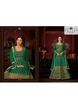 Charming Dark Green Malburry Silk Salwar kameez