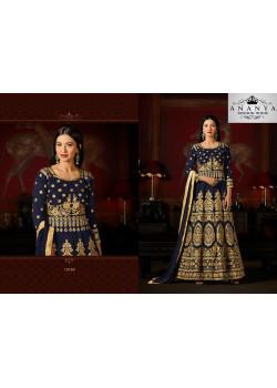 Melodic Dark Blue Malburry Silk Salwar kameez