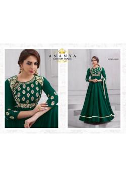 Flamboyant Dark Green Tafeta Silk Salwar kameez