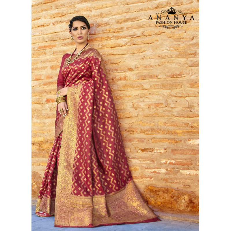 Red Ikkat Silk Saree with Red Blouse