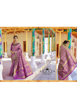 Purple Ikkat Silk Saree with Purple Blouse