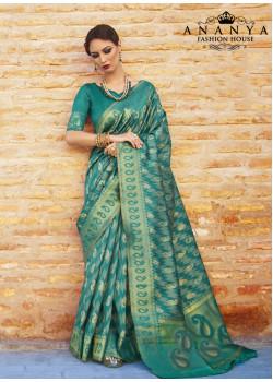 Dark Green Ikkat Silk Saree with Dark Green Blouse