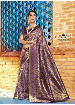 Dark Purple Ikkat Silk Saree with Dark Purple Blouse