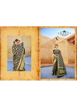 Black-Grey Ikkat Silk Saree with Black-Grey Blouse