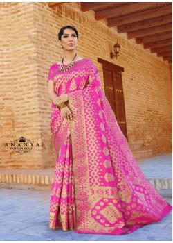 Pink Ikkat Silk Saree with Pink Blouse