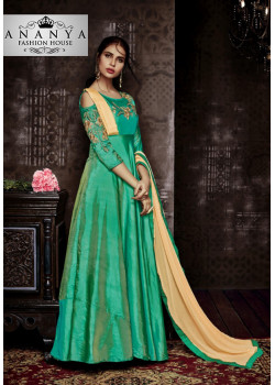 Exotic Green Tapeta Salwar kameez