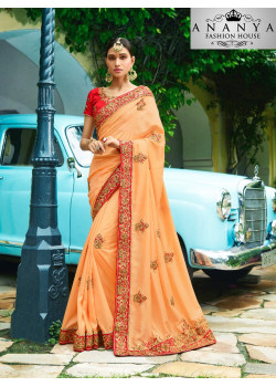Incredible Orange Georgette Saree with Red Blouse