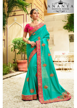 Plushy Green Georgette Saree with Pink Blouse