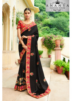 Classic Black Georgette Saree with Red Blouse