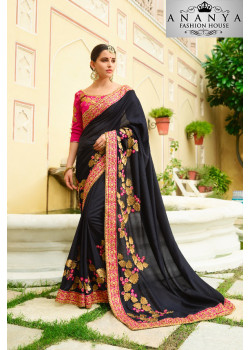 Luscious Black Georgette Saree with Pink Blouse