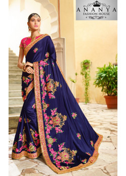 Exotic Dark Blue Georgette Saree with Pink Blouse