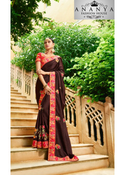 Adorable Brown Georgette Saree with Pink Blouse