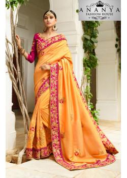 Divine Orange Georgette Saree with Dark Pink Blouse