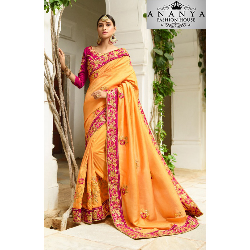 Divine Orange Georgette Saree with Dark Pink Blouse