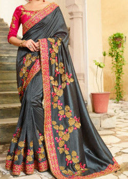 Flamboyant Grey Georgette Saree with Pink Blouse