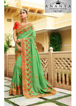 Melodic Green Georgette Saree with Pink Blouse