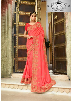 Melodic Orange Georgette Saree with Orange  Blouse