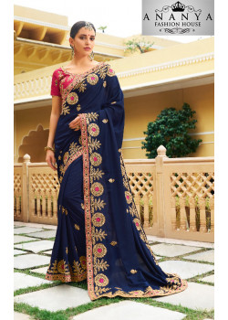 Trendy Dark Blue Georgette Saree with Pink Blouse