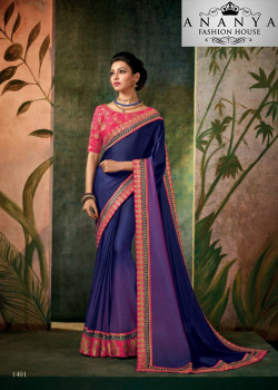 Magnificient Dark Blue Georgette Saree with Pink Blouse