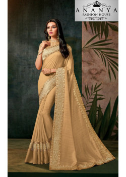 Flamboyant Yellow-Silver Georgette Saree with Silver Blouse