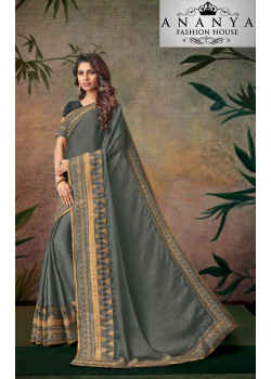 Melodic Grey Georgette Saree with Grey Blouse