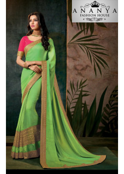 Charming Light Green Georgette Saree with Pink Blouse