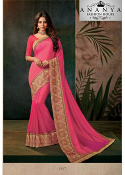 Magnificient Pink Georgette Saree with Pink Blouse