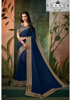 Dazzling Dark Blue Georgette Saree with Grey Blouse