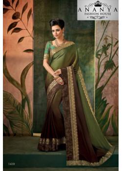 Trendy Dark Green Georgette Saree with Dark Green Blouse
