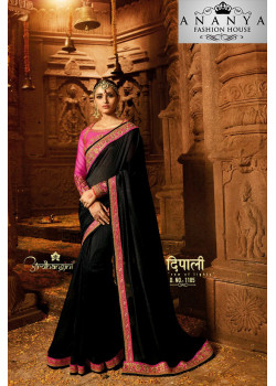 Classic Black Georgette Saree with Pink Blouse