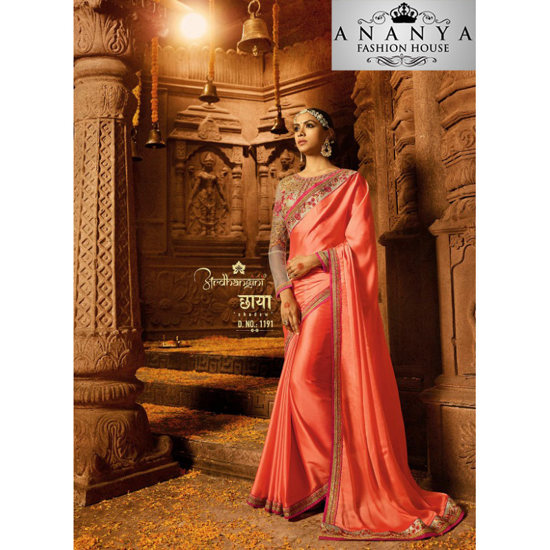 Charming Pink Georgette Saree with Brown Blouse