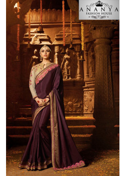 Incredible Dark Purple Georgette Saree with Light Brown Blouse